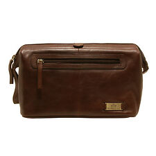 Rowallan - Large Cognac Top Framed Tanned Buffalo Leather Verona Wash Bag