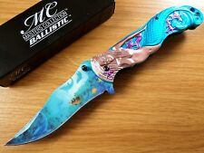Master Collection Spring Assisted Folding Knife Mermaid L Blue Tail MC-A013LB