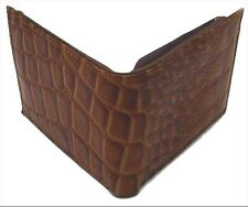 BROWN LEATHER Crocodile Croc Emoss Print MENS BIFOLD WALLET BIFOLD FLAP TOP NWT