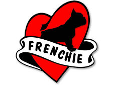 4x4 inch Heart & Banner Shaped FRENCHIE Sticker - dog french funny bulldog love