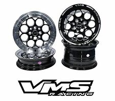 VMS RACING BLACK POLISHED FRONT & REAR DRAG WHEELS SET 4X100/4X114 13x8