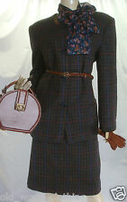 Vintage IRISH DONEGAL TWEED Wool Jacket Skirt Suit HOURIHAN UK 14 EU 40 US 8 L