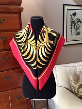"Hermes 1980's Tigre Royale Silk Red Black & Gold 26""x26"" Scarf"