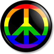 "Peace Symbol Rainbow 25mm 1"" Pin Button Badge Ban the Bomb Sign Hippie Love Flag"