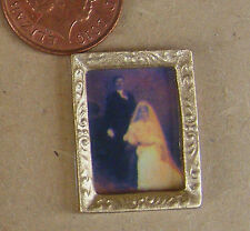 1:12 Victorian Wedding Picture In Frame Dolls House Miniature Painting Accessory
