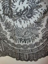 "Antique Black Chantilly Lace Trim 17"" by 40"" Nice Condition Floral"
