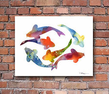 Koi Fish Abstract Watercolor Painting Art Print by Artist DJ Rogers