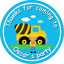 DIGGER CONSTRUCTION CHILDREN'S PARTY STICKERS, SEALS LABELS
