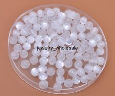 50pcs white Acrylic Cat's Eye Charm Round Loose Spacer Beads 6mm