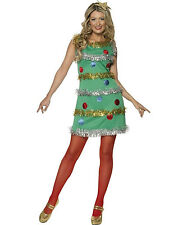 Women's Christmas Tree Adult Costume Dress and Headband Size Small 4-6