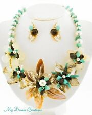 Chunky Turquoise Flower Natural Shell Luxury Cruise Party Costume Necklace Set