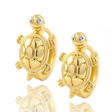 kids jewelery 14K Solid Yellow Gold Plated Swarovski turtle huggie Hoop Earrings