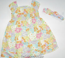 NEW GYMBOREE BUTTERFLY BLOSSOMS - FLOWER SMOCKED DRESS - BOW HEADBAND - 5T