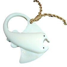 HAWAIIAN Hāhālua MANTA RAY STINGRAY CARVED BUFFALO BONE NZ NECKLACE PENDANT NEW