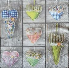 4 X SINGLE PAPER NAPKINS PARTY wood and hearts  DECOUPAGE  CRAFTING-31