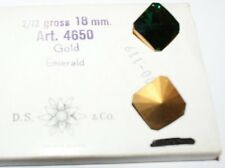 24 Swarovski Square Rivoli Rhinestones,18mm Emerald/Gold Foiled #4650 Full Box