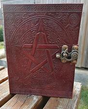 """Pentagramma E CELTIC Design in pelle Giornale, libro delle ombre, Wicca Pagan 8""""x6"""""""