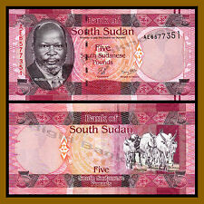 South Sudan 5 Pounds, 2011 P-6 John Garang African Oxen Unc