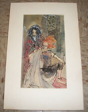 Original B. Jean Norling Silva Watercolor Painting Modernist  of woman 1950s MA