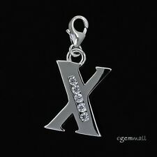 Fine Sterling Silver CZ Initial Letter X European Clip On Charm #94303