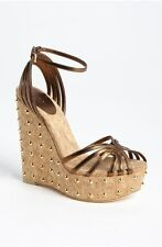 Gucci Cecyl Spiked Metallic Leather Studded Wedge Bronze Size 36
