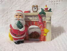 "Christmas Tea Light Candle Holder Santa in Front of Fire Place 3-1/2"" Tall x 4"""