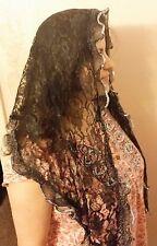 Catholic Head Scarf Church Black W/ Silver Veil Mantilla chapel lace Silky soft
