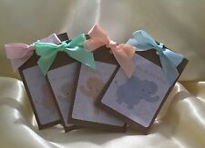 10 X Personalised Tea Bag Baby Shower Favours Pink, Peach, Green, Blue