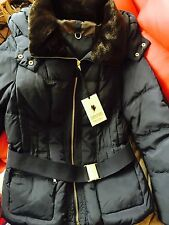 ZARA Navy Down Feather Anorak Puffer Jacket Coat Faux Fur Hood Extra Large XL