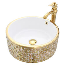 Bathroom Vessel Sink Round Bowl W/Faucet Pop Up Drain Gold Europe Style