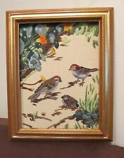 vintage hand made sewn embroidered needlepoint sampler bird flower framed art