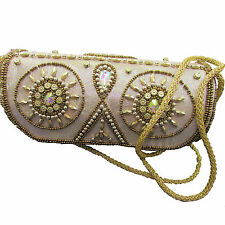 Champagne Satin Beaded Embroidered Wedding Bridal Evening Clutch Bag Purse - USA