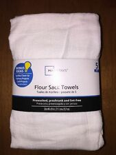 "5-Pack White Flour Sack Kitchen Dish Towels Big Super Absorbent 28""x29"""