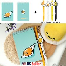 Sanrio Gudetama Lazy Egg Spiral Mini Notebook + 1 Mascot Ballpoint Pen : Water
