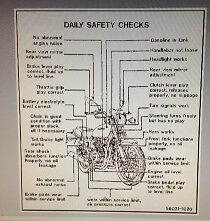 "KAWASAKI Z650 KZ650 ""DAILY SAFETY CHECKS"" CAUTION WARNING DECAL 2"
