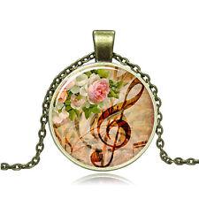New Vintage Cabochon Bronze Glass Music Charm Pendant Necklace #85
