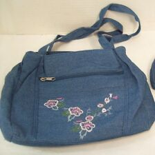 Women's Denim Handbag Purse with Embroidered Flowers