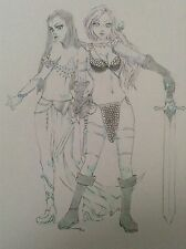 DEJAH THORIS & RED SONJA - Original Art Drawing Erotic Manga Chibi Fantasy Comic
