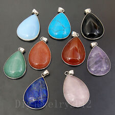 25x35mm Natural Gemstone Healing Reiki Teardrop Pendant Beads Necklace Earrings