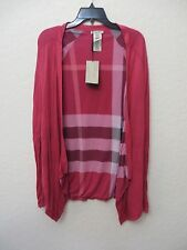 NEW BURBERRY REVERSIBLE Crimson Pink CHECK CARDIGAN SWEATER TOP SHIRT Size S MSR