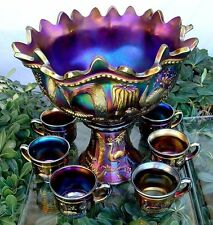 "NORTHWOOD""c1911""BLK AMETHYST""CARNIVAL GLASS""PEACOCK@FOUNTAIN""LRG PUNCH BOWL SET"