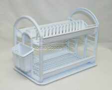 Round Design 2 Layer Plastic Dish Drainer Rack  Utensil Cutlery Draining White