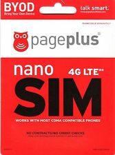 Page Plus 4G LTE Nano Sim Card iPhone 5, 5c, 5s PRIORITY SHIPPING WITH TRACKING