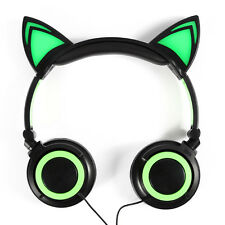 Foldable Cat Ear Headset LED Lights Headphones Rechargeable Earphone for samsung
