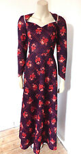 Vintage 1960s 60s Crimplene Handmade Hippy Boho Floral Maxi Dress UK Size 10