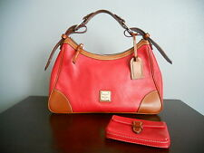 MSRP $299 DOONEY BOURKE 2PC LOT RED PEBBLE LEATHER HARRISON HOBO BAG + POUCH