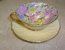 SHELLEY ROCK GARDEN OLEANDER SHAPE TEA CUP AND SAUCER  PALE YELLOW