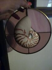 Stained Glass With Nautilus Sea Shell  Suncatcher