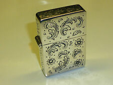 VINTAGE HANDMADE ENGRAVED 800 SILVER CASE ITALY ZIPPO LIGHTER INLAY 1990 RARE