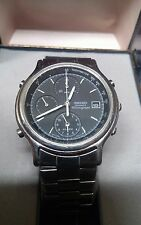 Vintage 1991 Seiko 7T32-6A5A Black Chrono Alarm Watch Box Spare Links Manual